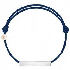 Bracelet cordon Plaque et perle bleu marine (or blanc 750°)