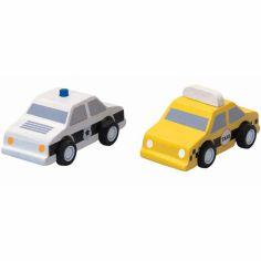 Taxi et voiture de police (2 pièces)