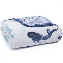 Couverture de rêve Dream Blanket Lights Seafaring whale (120 x 120 cm)  par aden + anais