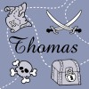 Tableau pirate bleu Thomas personnalisable (20 x 20 cm)  par Home Corner