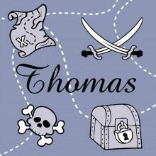 Tableau pirate bleu Thomas personnalisable (20 x 20 cm)  par Home Corner