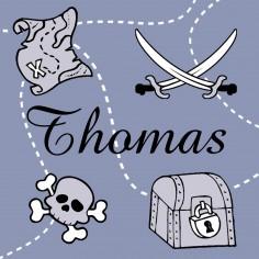 Tableau pirate bleu Thomas personnalisable (20 x 20 cm)