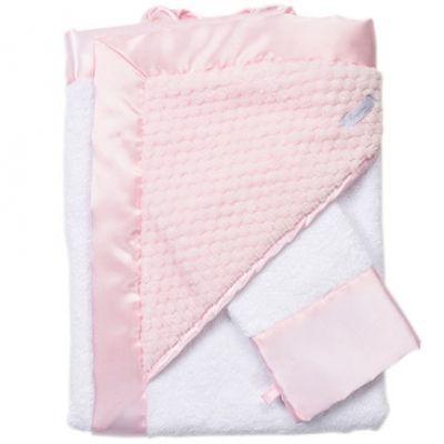 Cape de bain + gant de toilette Beryl rose  par Nougatine