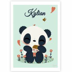 Carte A5 Le panda et l'enfant garçon (personnalisable)