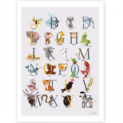 Affiche A3 abécédaire animalier jaune  par Kanzilue