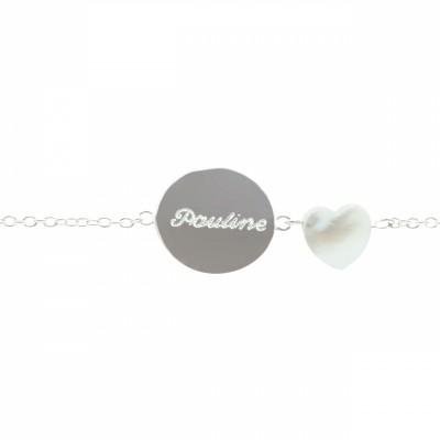 Bracelet Lovely nacre coeur (argent 925°)  par Petits trésors