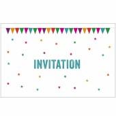 Lot de 10 cartes d'invitation Fanions - A cause de toi !
