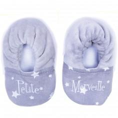 Chaussons de naissance Petite Merveille gris