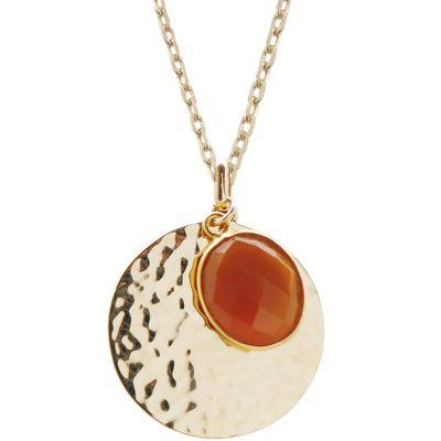Sautoir médaille martelée et cornaline personnalisable (plaqué or)  par Petits trésors