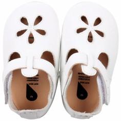 Chaussons bébé en cuir Soft soles Fleur blanches (15-21 mois)