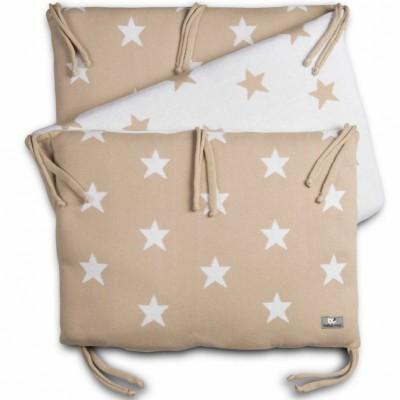 Tour de lit star beige et blanc pour lit 60 x 120 cm par baby 39 s only - Tour de lit beige ...