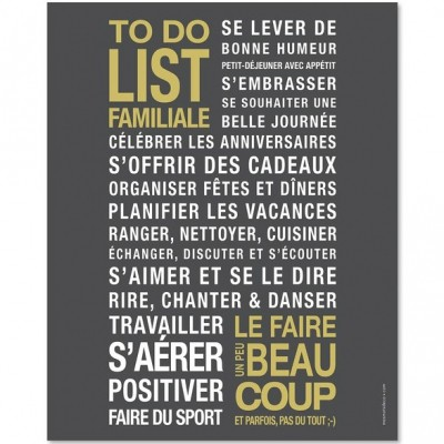 affiche encadrer to do list gris ardoise 40 x 50 cm. Black Bedroom Furniture Sets. Home Design Ideas