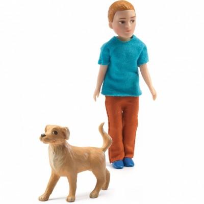 Poupée Xavier et son chien  par Djeco