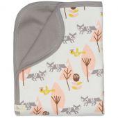 Couverture bébé renard rose et lin (80 x 100 cm) - Fresk