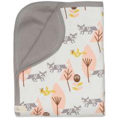 Couverture bébé renard rose et lin (80 x 100 cm)