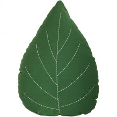 Coussin feuille verte (45 x 35 cm)
