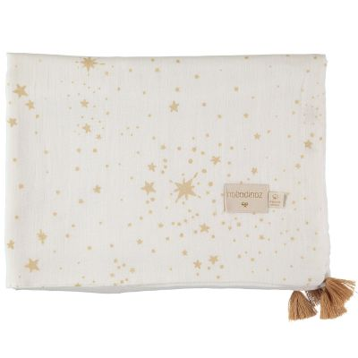 Couverture d'été bébé Gold stella blanc (70 x 100 cm)  par Nobodinoz