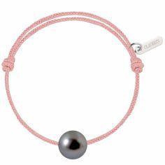 Bracelet bébé Baby Pearly cordon rose poudré perle de Tahiti 7mm (or blanc 750°)