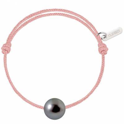 Bracelet bébé Baby Pearly cordon rose poudré perle de Tahiti 7mm (or blanc 750°)  par Claverin
