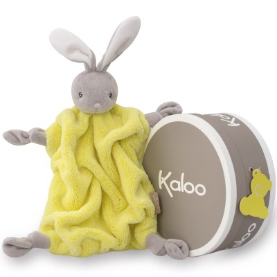 Coffret doudou plat Néon lapin jaune (20 cm) Kaloo
