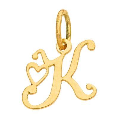 Pendentif initiale K (or jaune 750°)  par Berceau magique bijoux