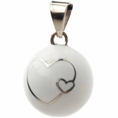 Bola blanc coeur argenté