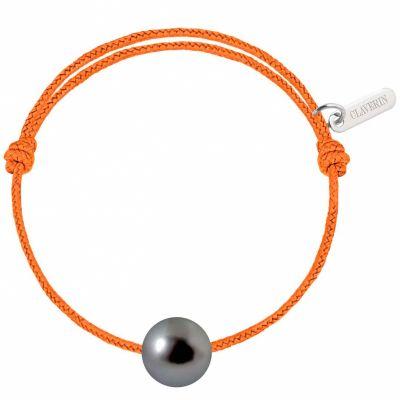 Bracelet enfant Baby Pearly cordon mandarine perle de Tahiti 7mm (or blanc 750°)  par Claverin