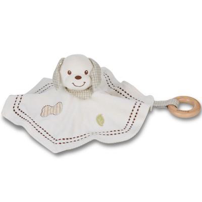 Doudou chien avec anneau bois EverEarth
