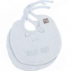 Lot de 2 bavoirs Hello Baby gris clair