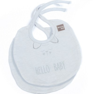 Lot de 2 bavoirs Hello Baby gris clair  par Walking Mum