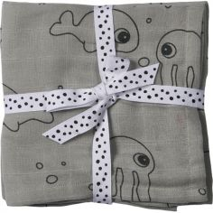 Lot de 2 maxi langes Sea Friends gris (120 x 120 cm)