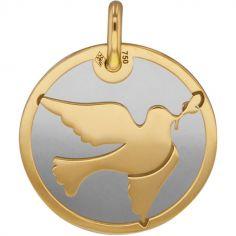 Médaille Colombe personnalisable (acier et or jaune 750°)