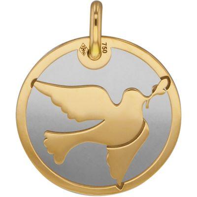 Médaille Colombe personnalisable (acier et or jaune 750°)  par Lucas Lucor