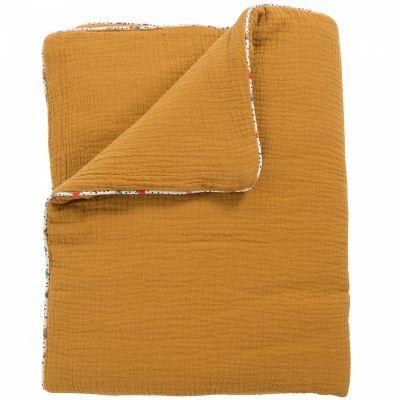 Couverture coton ocre Les jolis trop beaux (90 x 69 cm)