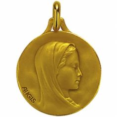 Médaille ronde Vierge profil droit 18 mm (or jaune 750°)