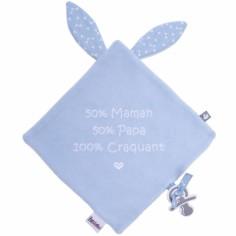 Doudou plat attache sucette 100% craquant bleu