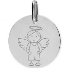 Médaille Ange garçon personnalisable (or blanc 750°)