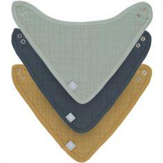 Lot de 3 bavoirs bandanas vert d'eau, bleu et moutarde