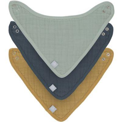 Lot de 3 bavoirs bandanas vert d'eau, bleu et moutarde  par Lässig