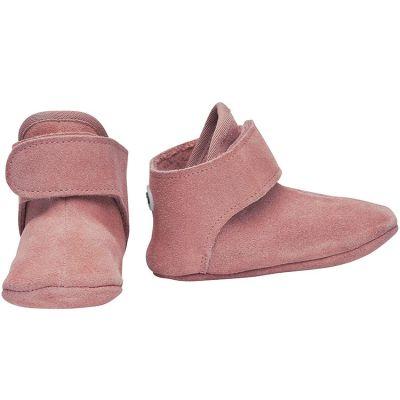 Chaussons en cuir vieux rose (0-6 mois)  par Lodger