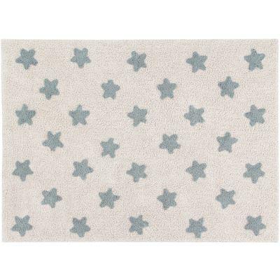 Tapis rectangulaire Estrellas étoile écru et bleu(120 x 160 cm) Lorena Canals