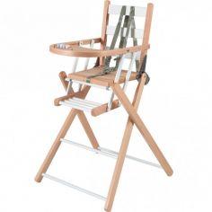 Chaise haute extra pliante en bois Sarah hybride blanc