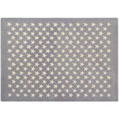 Tapis en laine Little Stars gris (140 x 200 cm)
