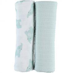 Lot de 2 maxi langes en mousseline de coton Eléphant menthe (100 x 100 cm)