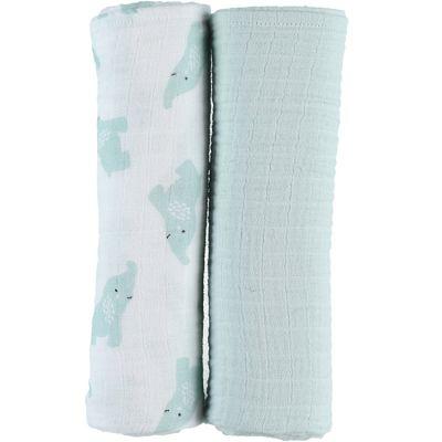 Lot de 2 maxi langes en mousseline de coton Eléphant menthe (100 x 100 cm)  par Noukie's