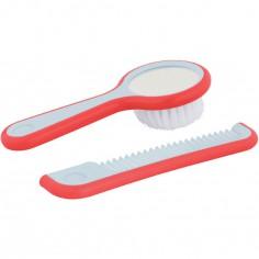 Set de coiffure brosse miroir et peigne corail