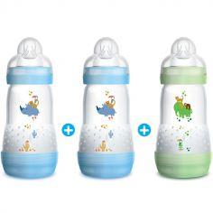Lot de 3 biberons anti-colique bleu et vert Easy Start - débit 2 moyen (260 ml)