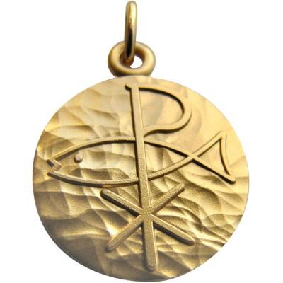 Médaille Pax et Poisson 18 mm (or jaune 750°) Martineau