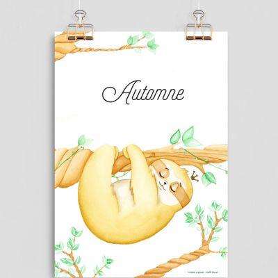 Affiche A4 Paresseux (personnalisable)  par Gaëlle Duval