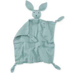 Doudou plat attache sucette Bunny vert de gris frizy (40 cm)